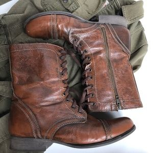 Steve Madden Troopa brown leather combat boots-11
